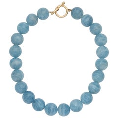Large Aquamarine Gumball Gold Necklace with Toggle Clasp