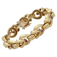 Tiffany & Co. 1960s Open Link Design Ruby and High Polish Gold Bracelet
