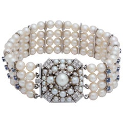 1950s Elegant Pearl with Sapphires and Diamonds Flexible White Gold Bracelet