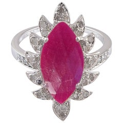 Claw Marquise Rubelite and Diamonds Cocktail Ring