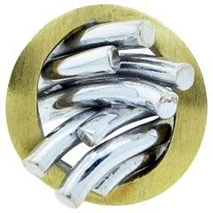 Modernist 18 Karat Yellow and White Gold Ring