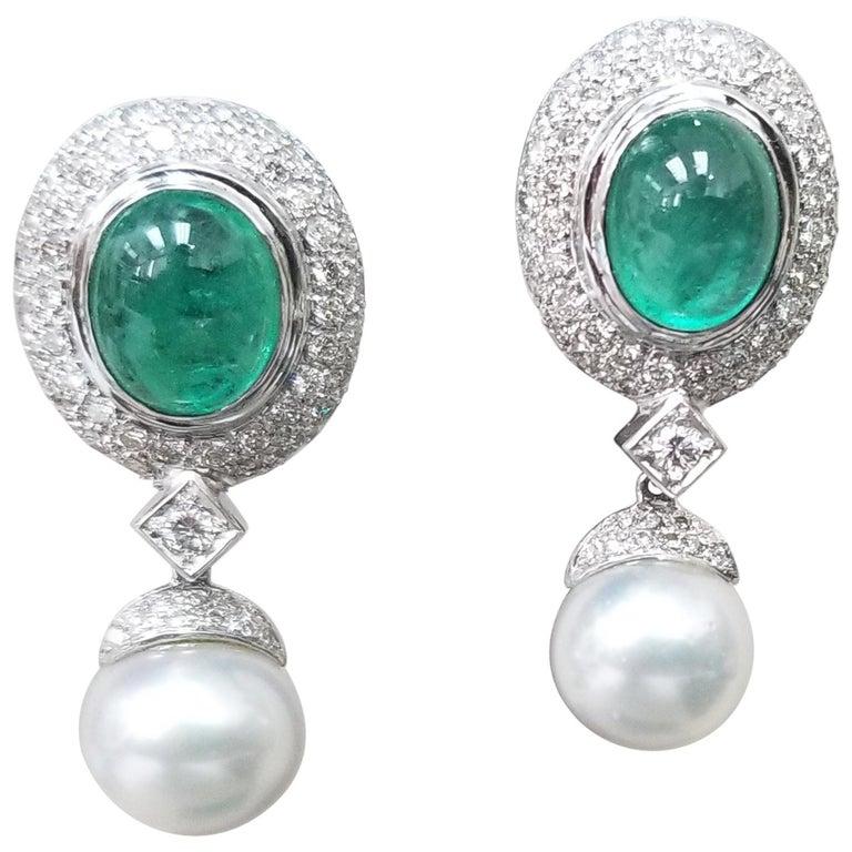 14 Karat White Gold Cabochon Emerald and Diamond Earrings