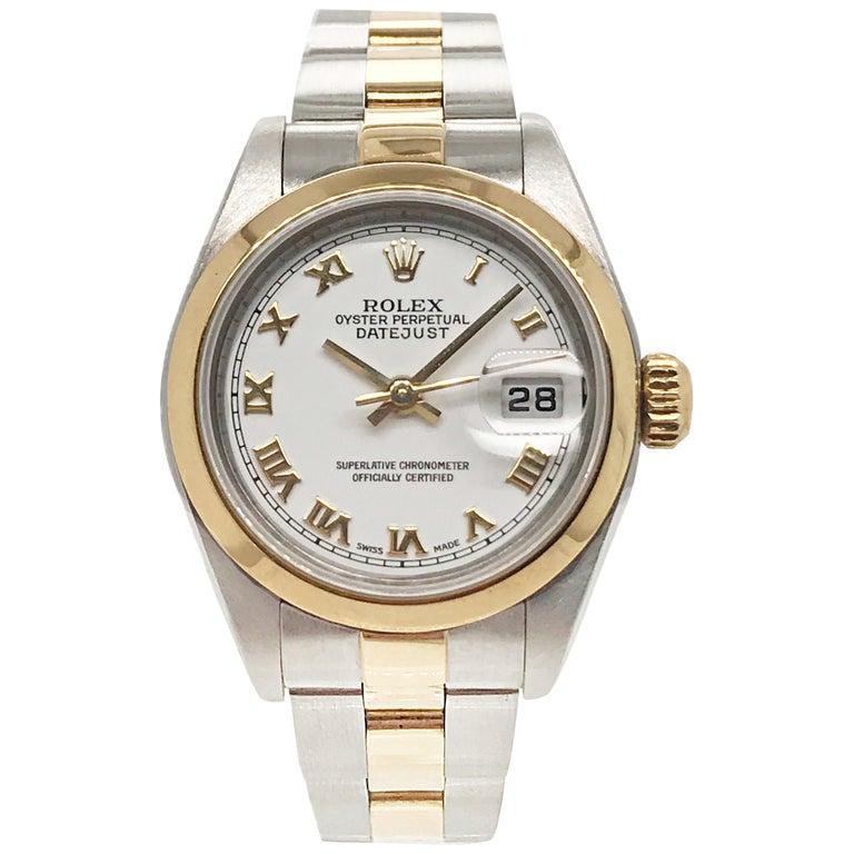 Rolex Ladies Yellow Gold Stainless Steel Datejust Wristwatch, circa 2000