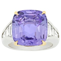 Untreated Fancy Lavender Sapphire Ring, 13.58 Carat