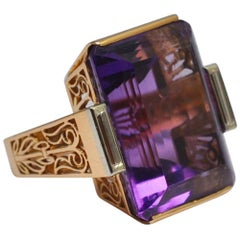 Midcentury French Amethyst Gold Ring
