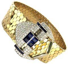 Magnificent Retro Diamond Sapphire Buckle Bracelet with Gold Hexagonal Links