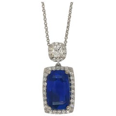 GIA Certified 4.97 Carat Ceylon, No Heat Sapphire set in Custom Platinum Pendant