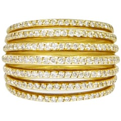 Layered Diamonds Yellow Gold Domed Band