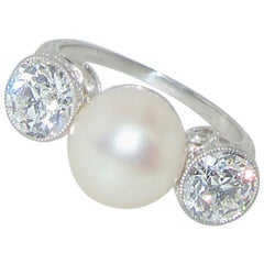 Antique Natural Pearl and Diamond Ring, circa 1915 by Black, Star & Frost