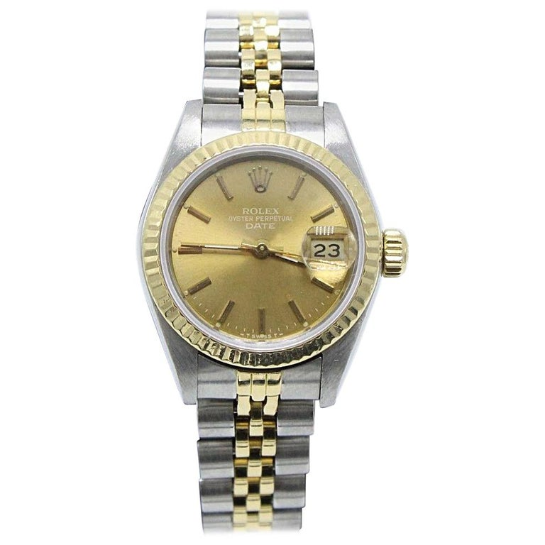 Rolex Ladies 69173 Date Two-Tone Champagne Dial 18 Karat Gold Stainless Steel