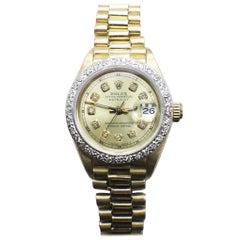 Rolex Ladies President Datejust 69178 Diamond Bezel and Champagne Diamond Dial