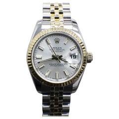 Rolex Ladies Datejust 179173 Silver Dial 18 Karat Gold and Steel