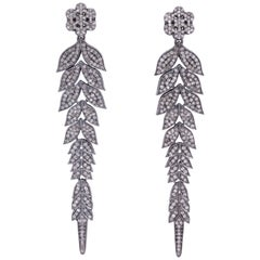 Rebecca Koven Diamond Silver Vine Earrings