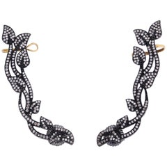 Rebecca Koven Sterling Silver Diamond Vine Ear Cuffs