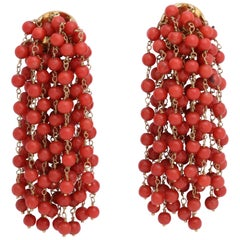Rebecca Koven Coral Gold Chain Earrings
