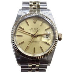 Rolex Datejust 16013 14 Karat Yellow Gold and Stainless Steel Mint Band