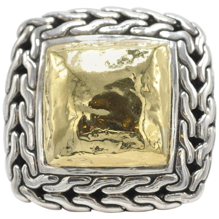 John Hardy Woven Two-Tone Square-Top Ring