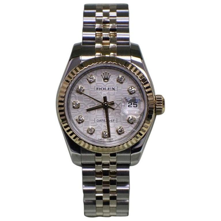 Rolex Ladies DateJust 179173 Jubilee Diamond Dial 18K Gold & Steel Box & Papers