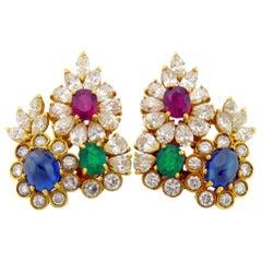 14 Karat Yellow Gold and Diamond and Gem-Set Earclips