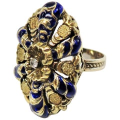 Victorian 1880s Blue Enamel and Diamond Ring or 14 Karat Yellow Gold