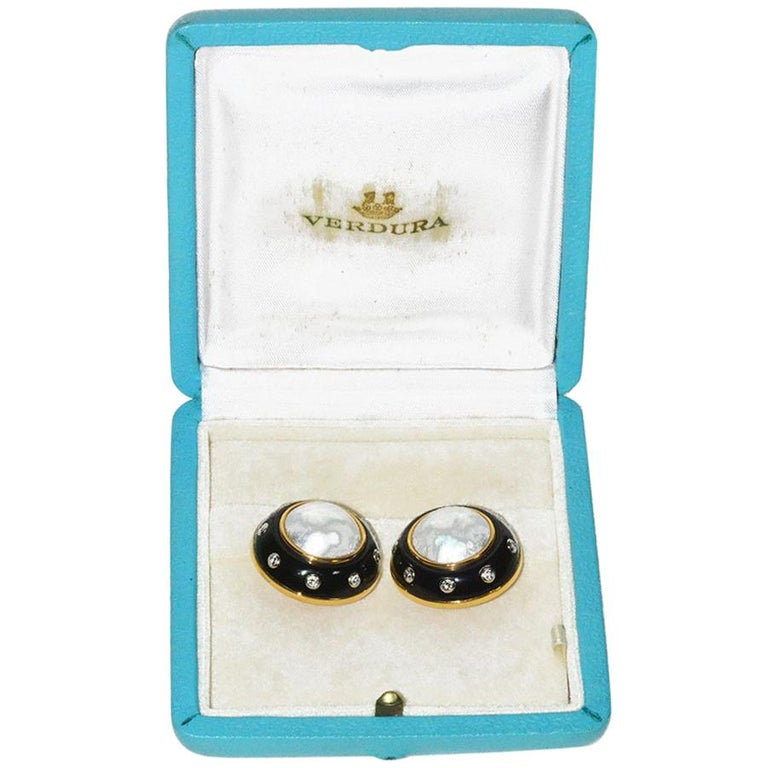 Verdura Gold Pearl Diamond Onyx Ear Clips