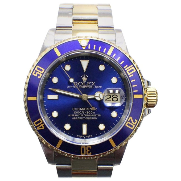 Rolex Submariner 16613 Blue Dial 18 Karat Yellow Gold and Stainless Steel