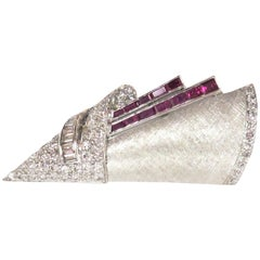 Art Deco 1930s Diamond and Ruby Brooch or Platinum