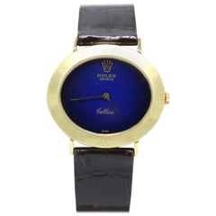 Rolex Cellini 3831 J 18 Karat Yellow Gold Blue Dial with Leather Strap