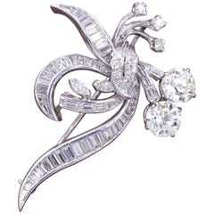 Old European Diamond Brooch with Baguette Cuts in Platinum