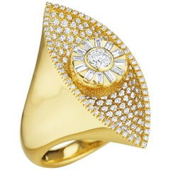 CADAR Reflections Cocktail Ring, 18K Yellow Gold and 1.96cttw White Diamonds