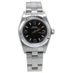 Rolex Ladies Oyster Perpetual 76080 Black Dial Stainless Steel Watch
