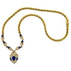 Sapphire and Diamond 18 Karat Yellow Gold Pendant