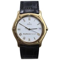 Ebel Classic Wave 18 Karat Yellow Gold Men's White Dial