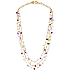 Marco Bicego Gold Paradise Multi-Color Gems 18 Karat Triple Strand Necklace