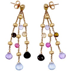 """Multi-Color """"Paradise Collection"""" 18 Karat Yellow Gold Triple Earrings"""