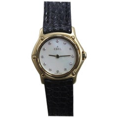 Ebel Classic Wave 18K Yellow Gold Ladies MOP Diamond Dial Box & Papers Like New