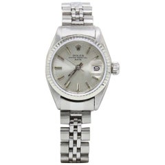 Rolex Ladies Date 6917 18 Karat White Gold and Stainless Steel Bezel
