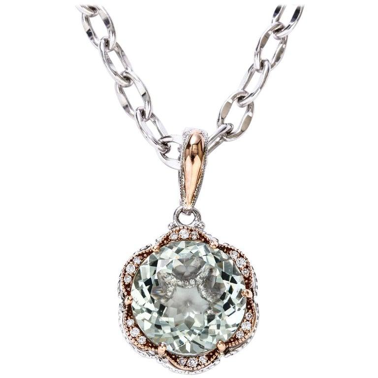 Tacori Silver Prasiolite Green Quartz Diamond Pendant 18 Karat Gold 12.97 Carat