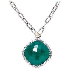 Tacori Silver Green Onyx Pendant Necklace 18 Karat Yellow Gold SN13327