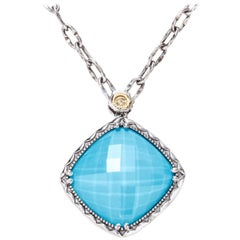 Tacori Silver Turquoise & Clear Quartz Pendant Necklace 18k Yellow Gold SN13305