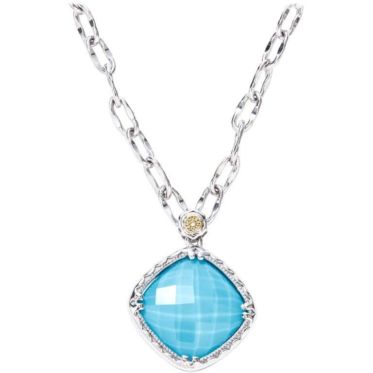 Tacori Silver Turquoise and Clear Quartz Pendant Necklace 18 Karat Gold SN13505