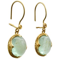 Aquamarine Drop Earrings Set in 22 Karat Yellow Gold Antique Style
