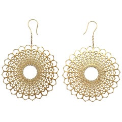 Spherical Diamond Dangle Earrings Gold
