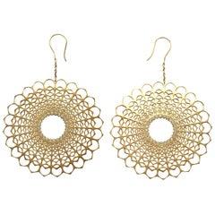 Spherical Diamond Dangle Earrings Gold