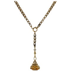 Victorian Gold Chain with Citrine Pendant