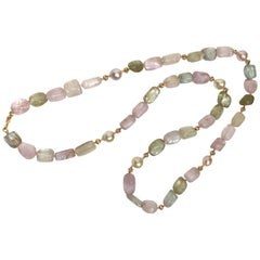 Multi-Color Aquamarine, Freshwater Pearls and 18 Karat Gold Necklace