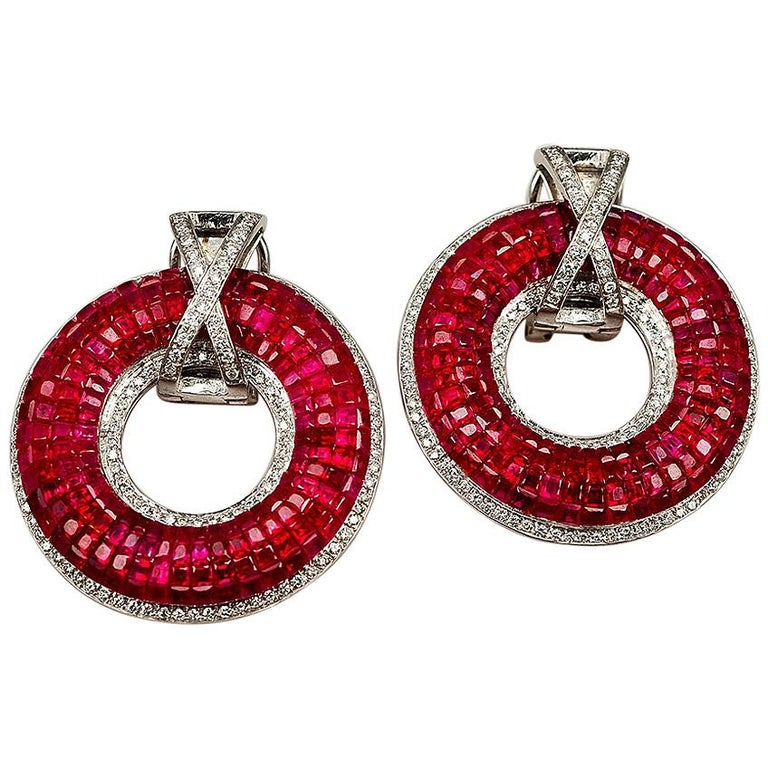18K white gold Ruby and Diamond invisible Hoop Earrings