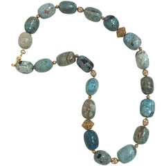 African Blue Opal and 18 Karat Gold Bead Necklace