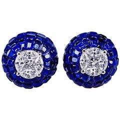 18K White gold Sapphire Stud invisible Earrings