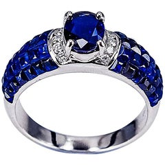 18K White gold Oval invisible Sapphire Ring